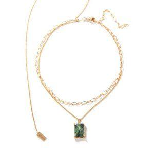 Tatiana Mer Bijou Necklace with green gemstone